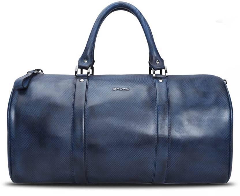 d45d589421 Brune Snake Print Genuine Leather Duffle Bag Travel Duffel Bag Blue ...