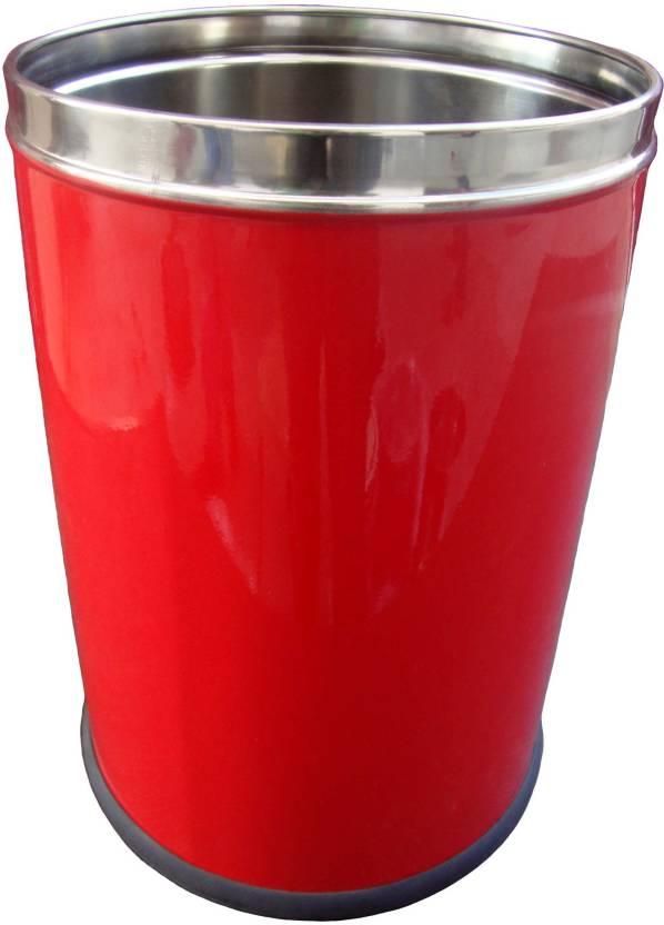 """King International Open Garbage Bin - 7 Litre (8""""X12"""") Stainless Steel Dustbin"""