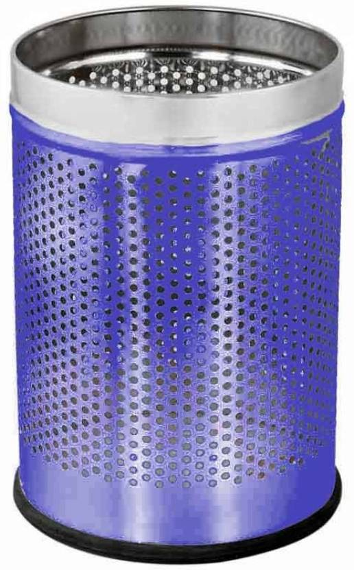 King Traders BLue Open Perforated 12 Ltr. 10x14 Stainless Steel Dustbin
