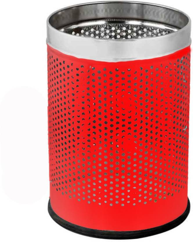 King Traders Red Open Perforated 12 Ltr. 10x14 Stainless Steel Dustbin