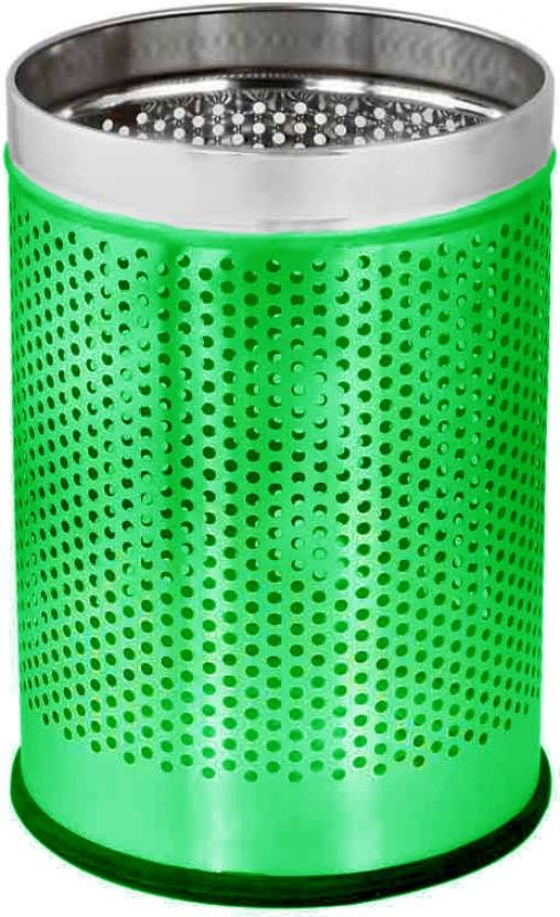King Traders Green Open Perforated 12Ltr. 10 x14 Stainless Steel Dustbin