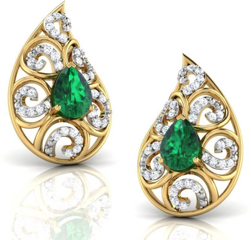 Caratlane Lahari Paisley Yellow Gold 18kt Diamond Emerald