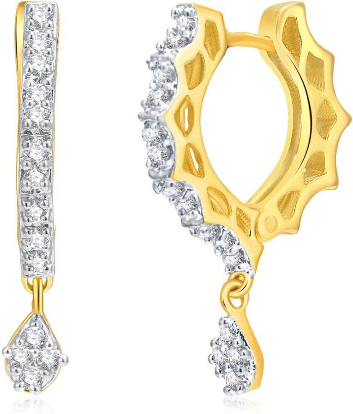 04b6f040a4 Flipkart.com - Buy Pissara Pissara Surveen Chawla Collection Glamorous Gold  And Rhodium Plated Cz Hoops For Women Cubic Zirconia Alloy Hoop Earring  Online ...