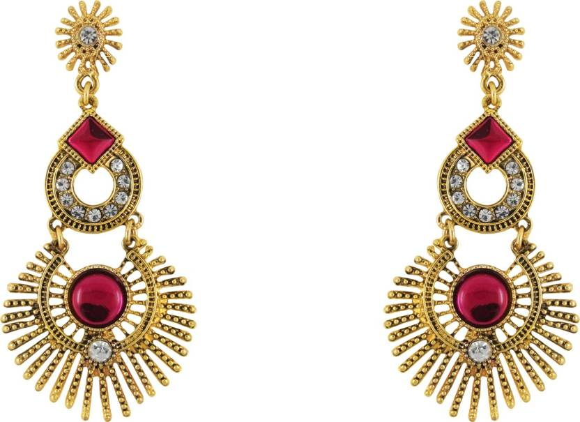 Donna Pink Twin Circles Crystal Metal Drop Earring