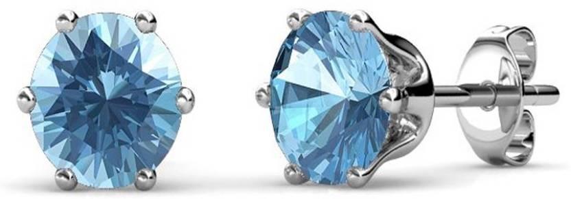 104d38c9b Yellow Chimes Macaroon Blue Topaz Swarovski Crystal Metal Stud Earring