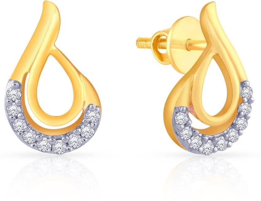 c9ab4eb0329e0 Malabar Gold and Diamonds E651985 Yellow Gold 18kt Diamond Stud Earring