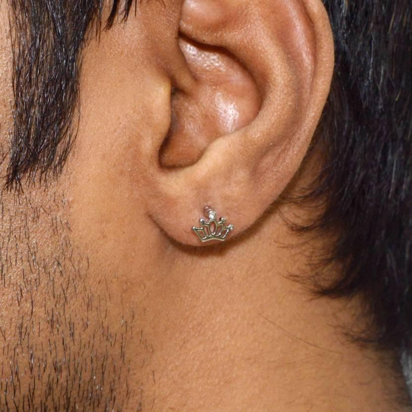 c8813cfbd Flipkart.com - Buy Sarah Sarah King Crown Single Stud Earring for Men -  Silver Stainless Steel Stud Earring Online at Best Prices in India