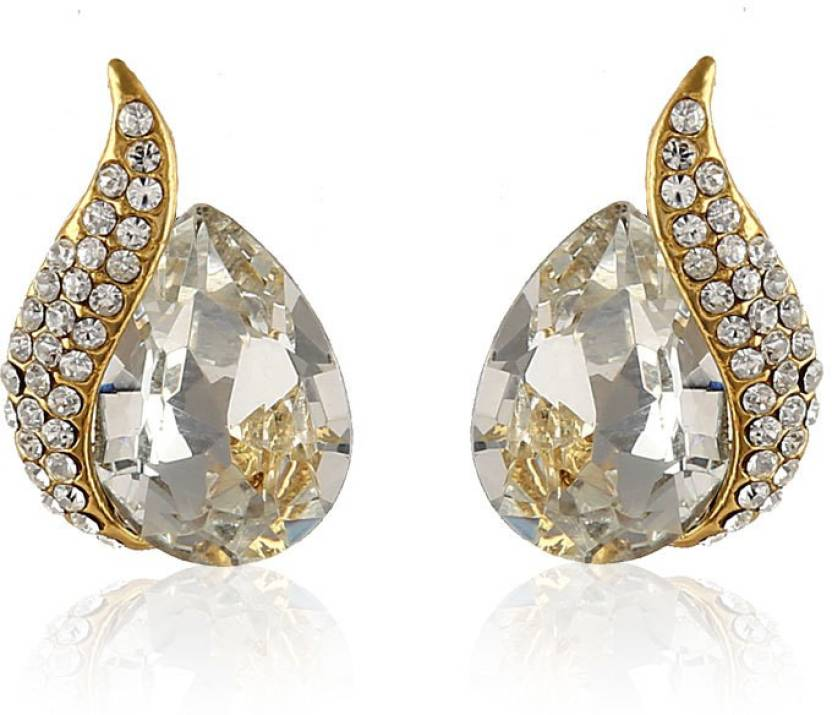 ddf4780dcb7aae Flipkart.com - Buy Rich Lady White Stone Studs Gold Finishing Classy Design  Alloy Stud Earring Online at Best Prices in India