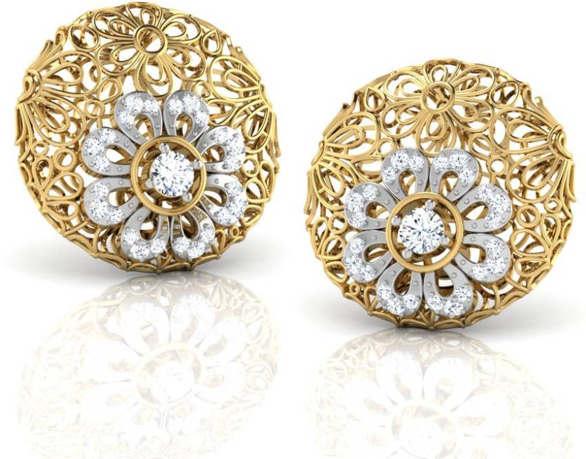Caratlane Melantha Trellis Yellow Gold 18kt Diamond Stud