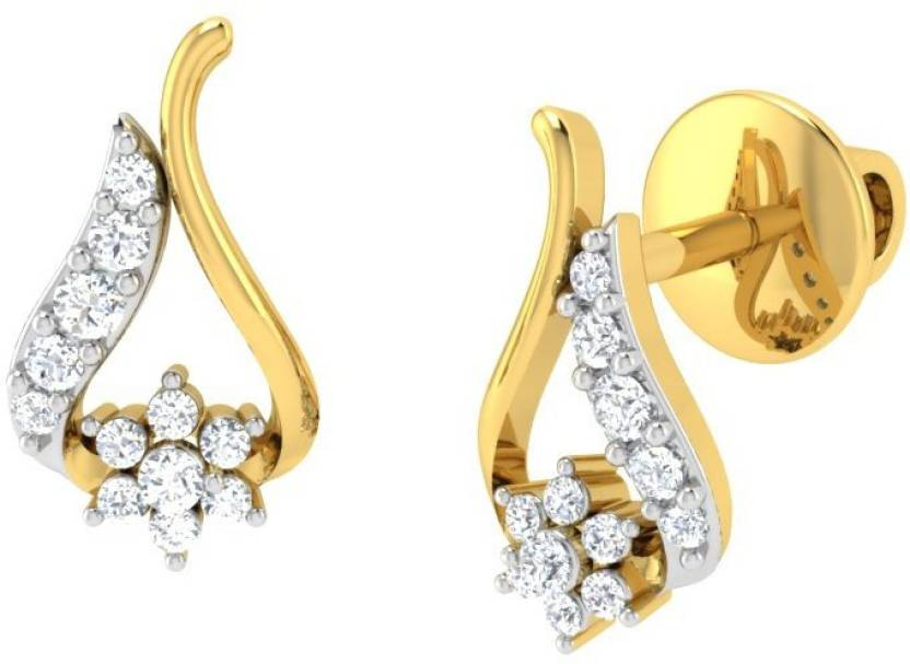 Vishal Diamonds Briana Yellow Gold 18kt Diamond Stud Earring