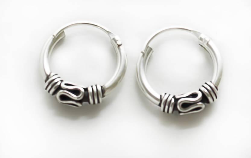 Silverwala Oxidised Silver Hoop Earring