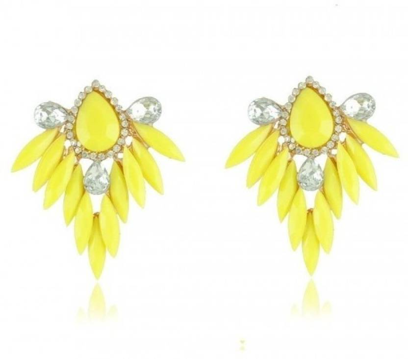 Crunchy Fashion Neon Yellow Crystal Alloy Chandelier Earring