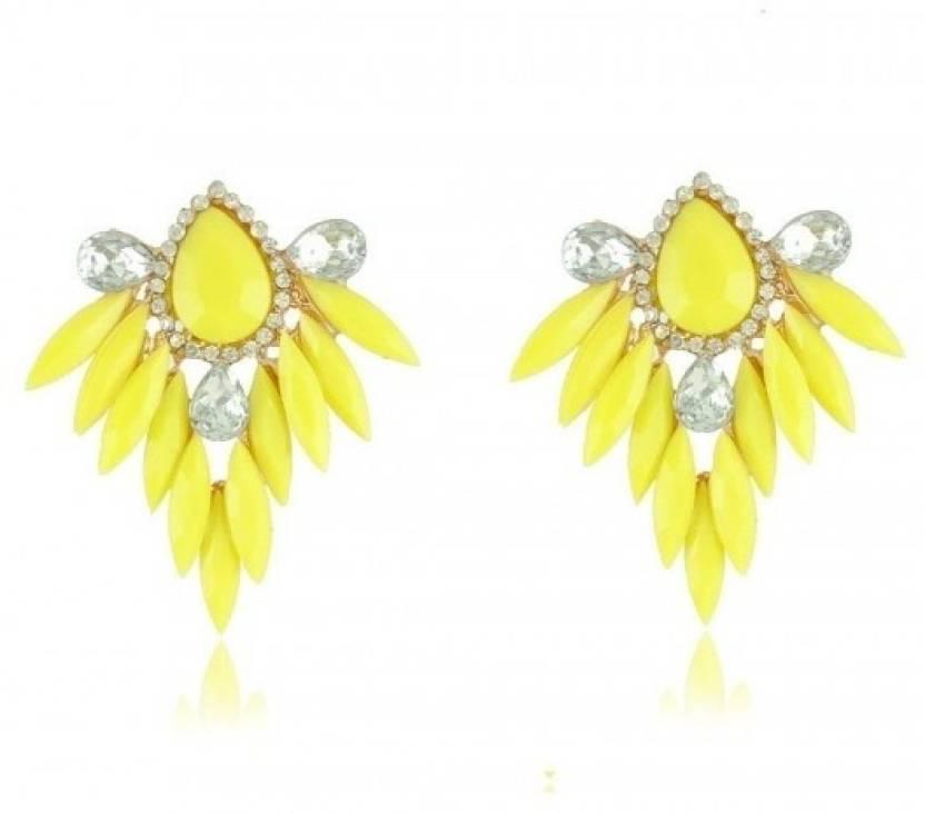 Crunchy Fashion Neon Yellow Crystal Alloy Chandelier Earring