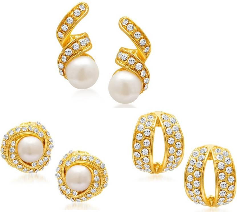 Sukkhi Divine Set of 3 Combo Alloy Earring Set | Buy Sukkhi Divine ...