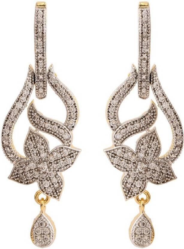 Rajwada Arts Gold Colored Cubic Zirconia Br Traditional Hanging Earring Dangle