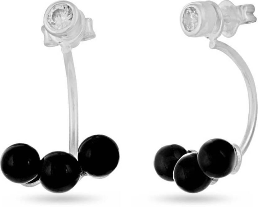 8463e2de4 Flipkart.com - Buy LeCalla Black Stone Back Lobe Earrings Sterling Silver  Stud Earring Online at Best Prices in India