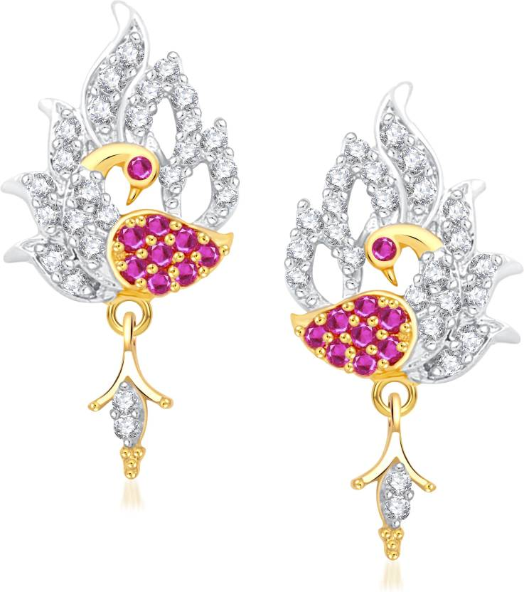 VK Jewels Forest Dreams Peacock Cubic Zirconia Alloy Drop Earring