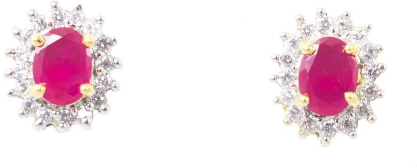 b486fe6f6 Jewelskaro Latest Designer American Diamond ear tops designs Ruby Ruby  Brass Stud Earring