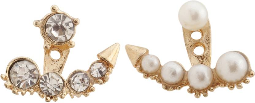 Rianz New Designer Pearl And Australian Crystals Alloy Crystal Stud Earring
