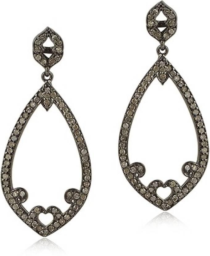 Maya Jewels Jaipur Queen Diamond Gold Silver Chandelier Earring