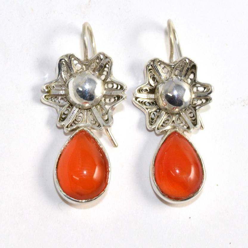 ce21a66ed Flipkart.com - Buy Manirathnum Carnelian With Sterling Silver -548  Carnelian Silver Huggie Earring Online at Best Prices in India