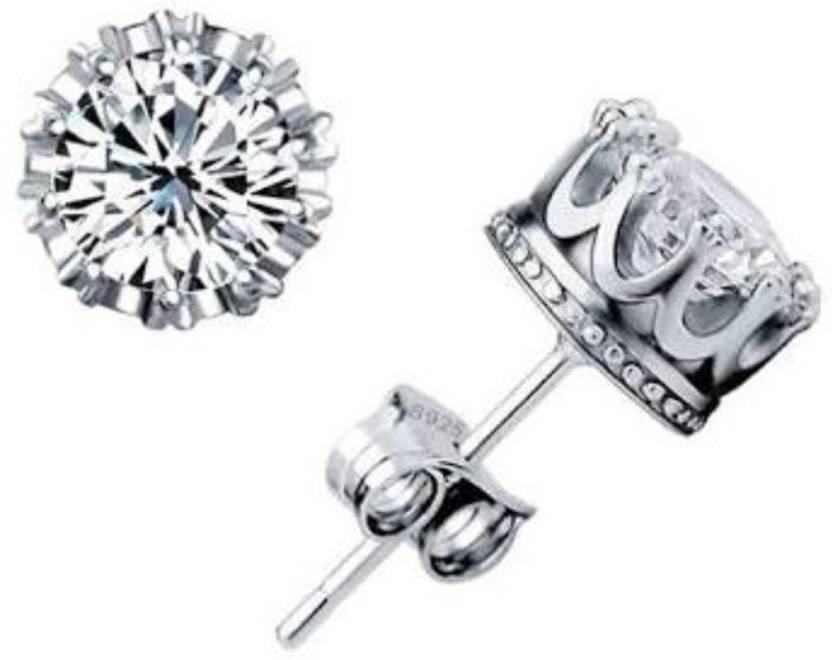 7f9f5dd23 Flipkart.com - Buy Arisidh genuine White Crown Design Pure 925 Sterling  Silver Stud Earring for Men , women , Boys and Girls Sterling Silver Stud  Earring ...