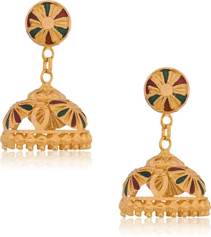 Senco Gold Style Diva Yellow Gold 22kt Jhumki Earring   Buy Senco ...