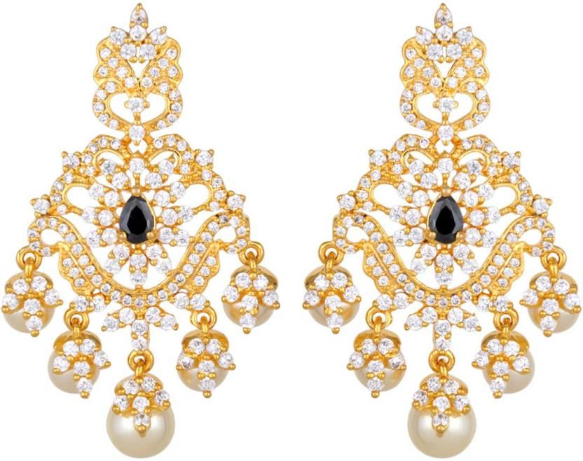Flipkart buy kushals fashion jewellery zircon silver alloy kushals fashion jewellery zircon silver alloy chandelier earring aloadofball Image collections