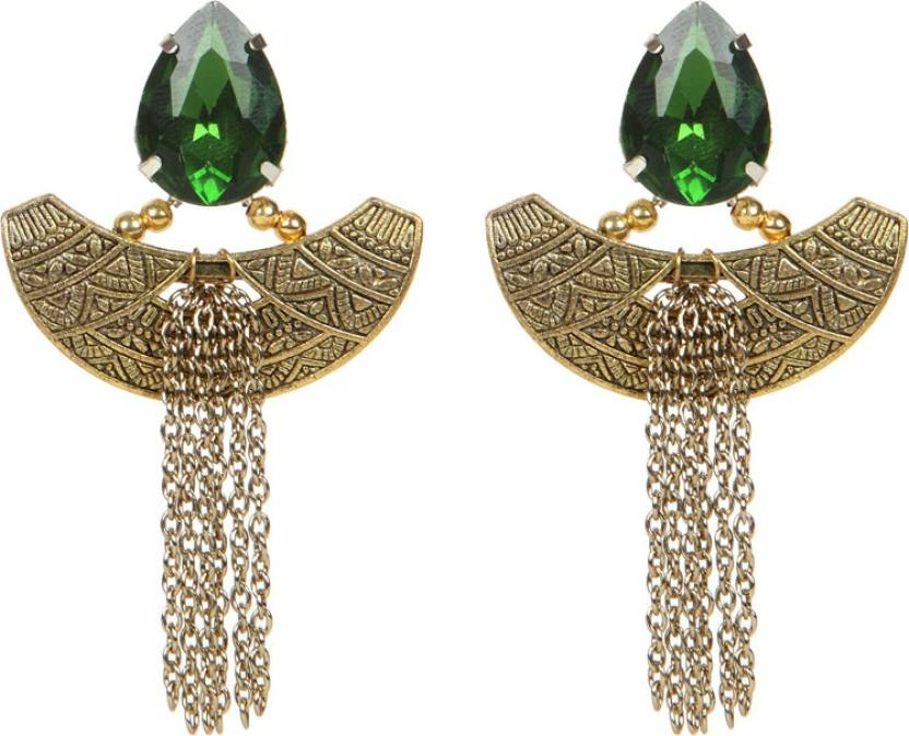 1e887c053 Flipkart.com - Buy Envy Green Stone With Gold Metal & Chain Brass Tassel  Earring Online at Best Prices in India