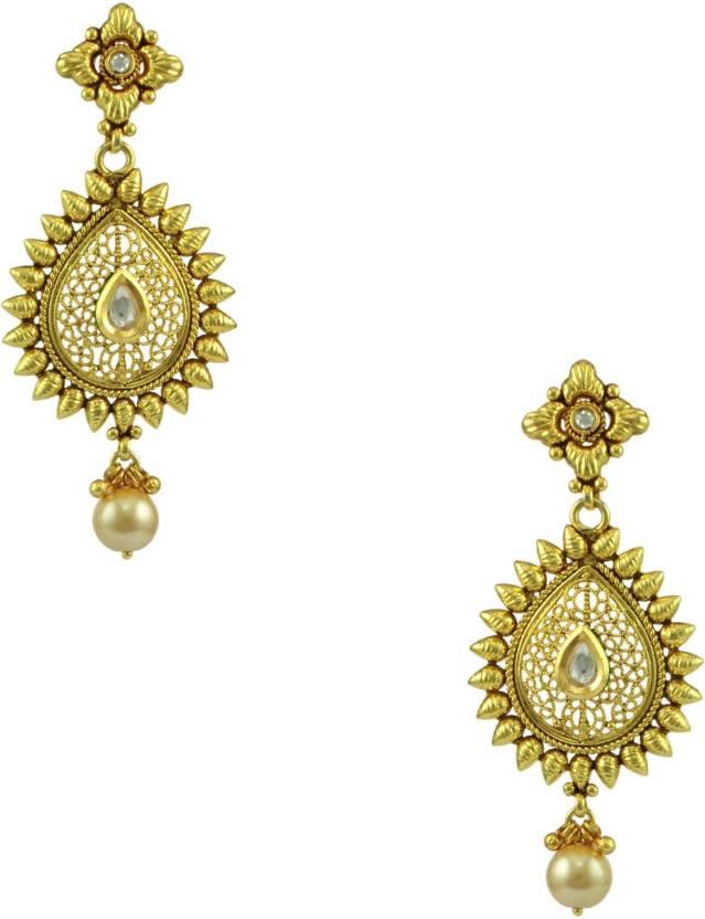 Orniza Gold Traditional Earrings In Golden Color Br Chandbali Earring