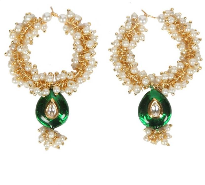 Envy Hoop With Lariya Green Meena Mother Of Pearl Earring