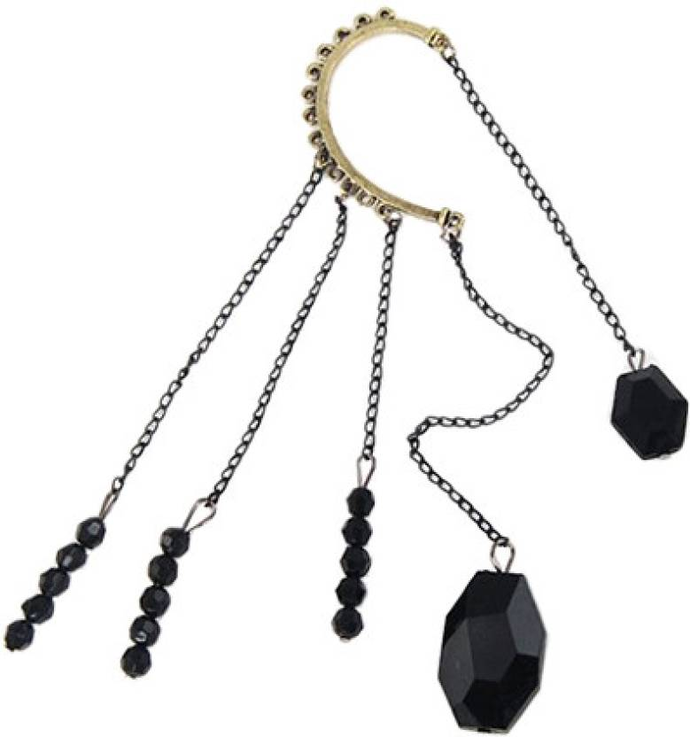 Crunchy Fashion Black Drops Alloy Cuff Earring