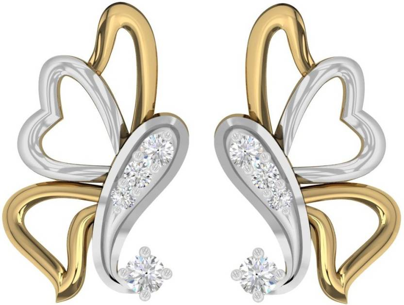e3accb736 ... 18KT Yellow Gold Daily Wear Butterfly Stud Earring with 0.05cts Diamonds  Yellow Gold 18kt Diamond Stud Earring Price in India - Buy TBZ TheOriginal  TBZ ...