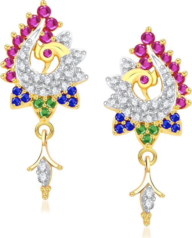 VK Jewels Gorgeous blue and green Peacock Cubic Zirconia Alloy Drop Earring