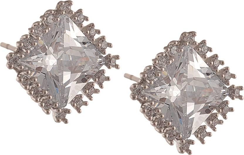 Zephyrr Fashion Stud Earrings With American Diamond For Women Alloy Earring