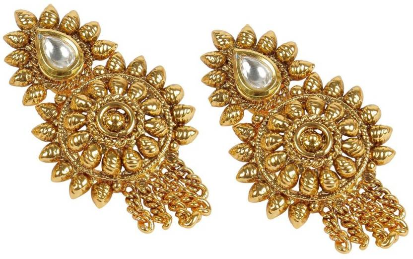 Muchmore South Indian Traditional Design Made Polki Earrings For Women Alloy Jhumki Earring