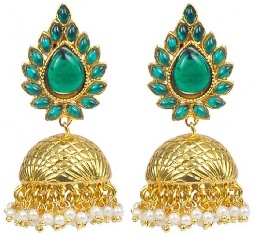 Jillcart Jhumka Earring With Green Stone And Pearls Gold Plated Pearl Copper Jhumki