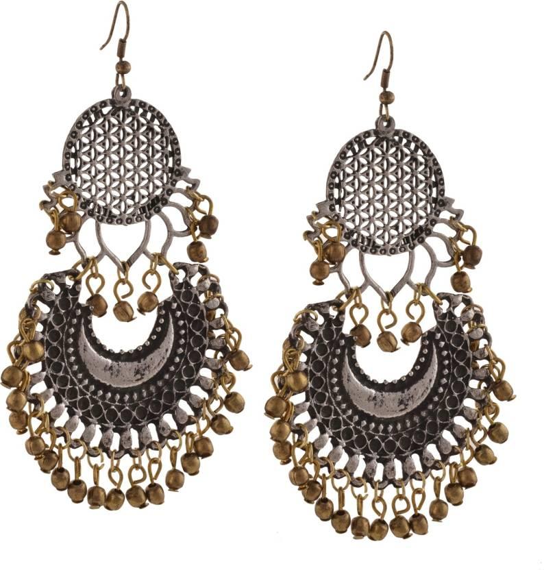 7e99b06b6 Flipkart.com - Buy Zephyrr Zephyrr Fashion Oxidized Ethnic Silver Golden  Beaded Chandbali Earrings Women Alloy Dangle Earring Online at Best Prices  in India