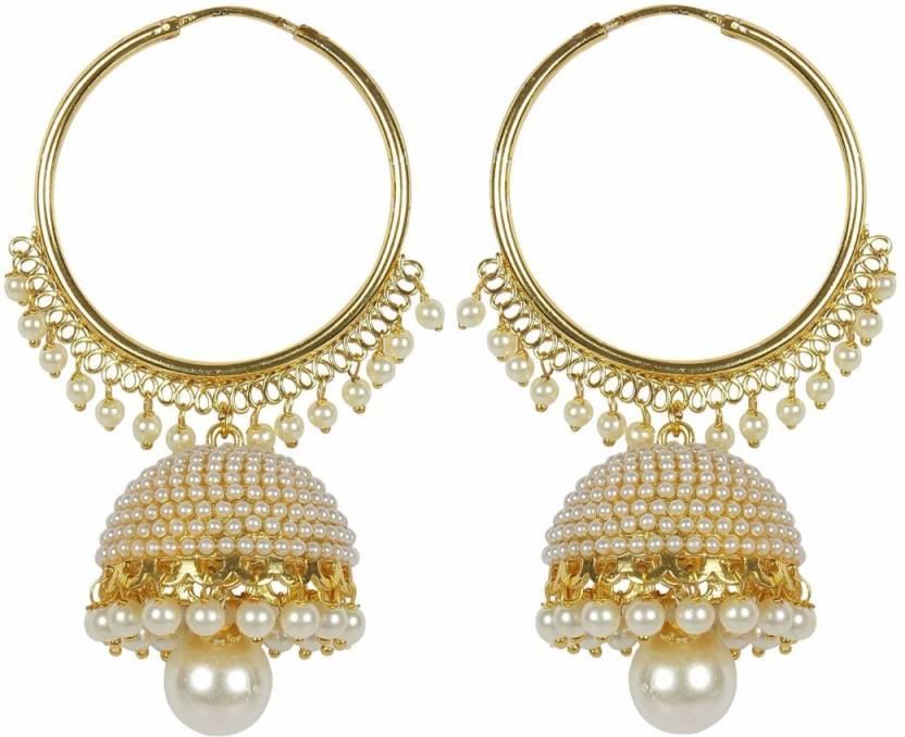 flipkartcom buy meenaz kundan pearl jhumki earrings for