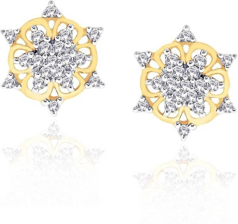 Shuddhi Designer Yellow Gold 18kt Diamond Stud Earring