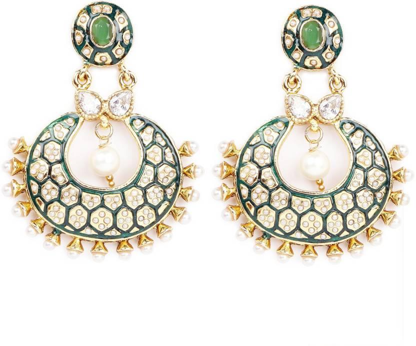 49b4f896f Flipkart.com - Buy Johareez Multistone Gold Plated Brass Green Enamel  Chandbali Shape Brass Dangle Earring Online at Best Prices in India