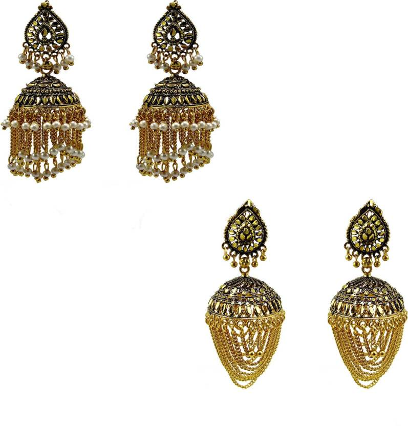 b3344b691952e Flipkart.com - Buy IV IV Gold finish with black combination Jhumka ...