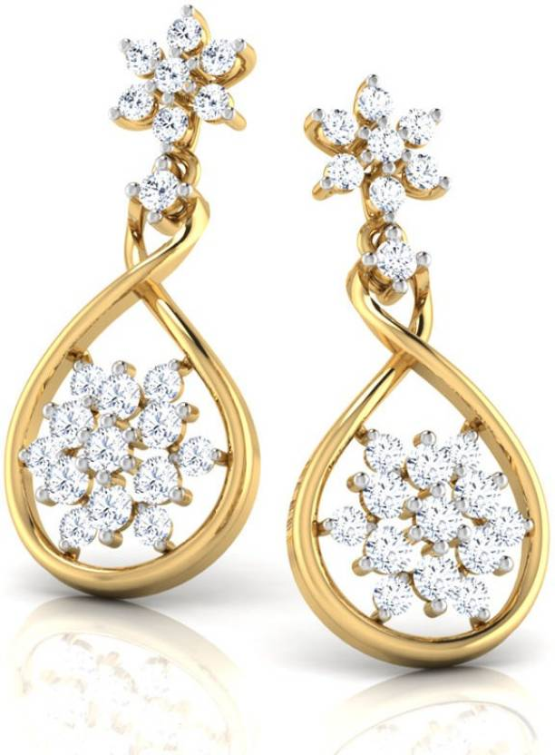 f29b6d608ab8e Caratlane Classic Cluster Yellow Gold 18kt Diamond Drop Earring ...
