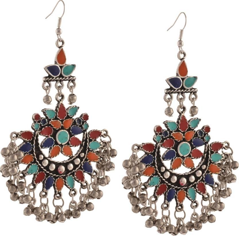d946208a9 Flipkart.com - Buy Zephyrr Fashion Oxidized Silver Afghani Tribal Dangler  Hook Chandbali Earrings Alloy Dangle Earring Online at Best Prices in India