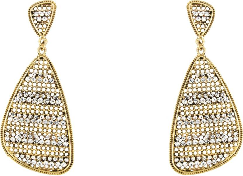 Donna White Curvy Triangle Crystal Metal Drop Earring