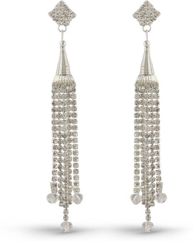Upto 75% off On Trendy Earrimgs By Flipkart | Rich Lady Moddish Rhodium Finish Austrian Stone Long Cup Chain Brass Tassel Earring @ Rs.255