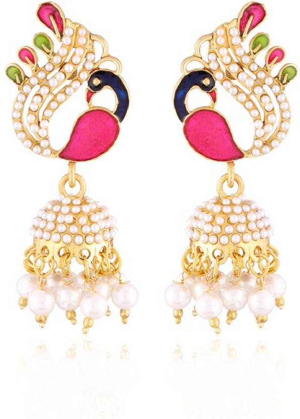 2ba886644 Flipkart.com - Buy I Jewels Traditional Gold Plated Peacock Shaped  Meenakari Alloy Jhumki Earring Online at Best Prices in India