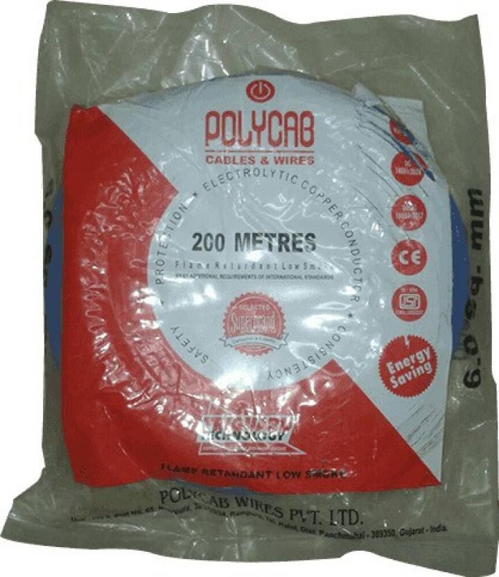 Polycab FR PVC, PVC 4 sq/mm Blue 200 m Wire Price in India - Buy ...