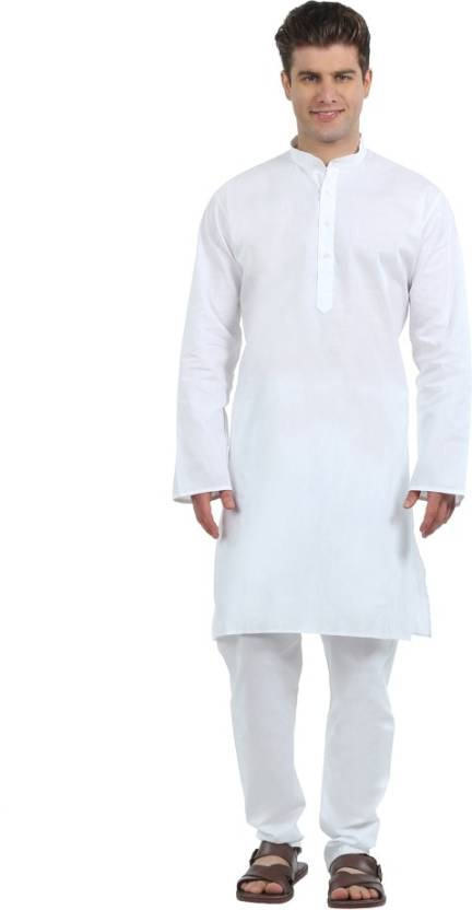 74cec1c19b Ethiculture Men s Kurta and Pyjama Set - Buy White Ethiculture Men s Kurta  and Pyjama Set Online at Best Prices in India