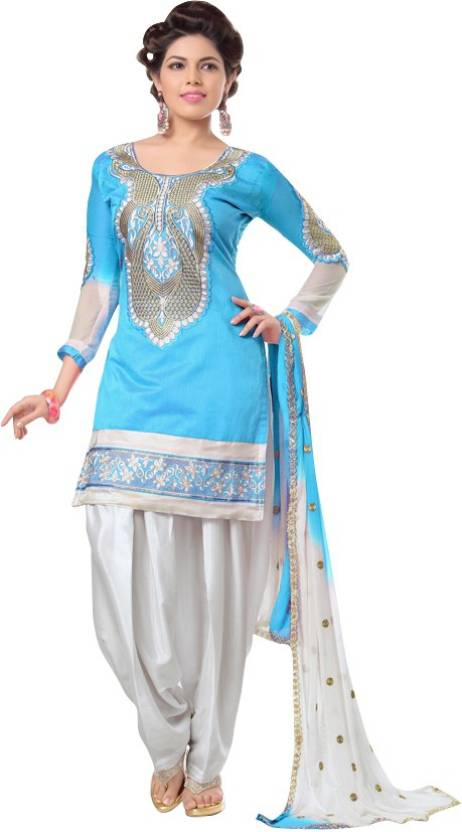The Fashion World Chanderi Embroidered Semi-stitched Salwar Suit Dupatta Material